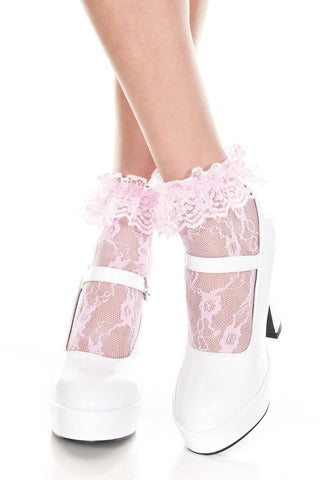 Image of White Pink Black Red Lace Ruffle Top Ladies Lace Ankle Socks