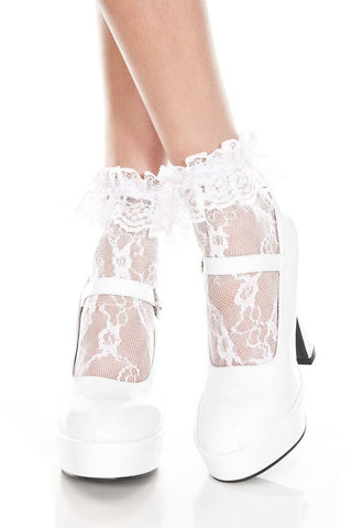 White Pink Black Red Lace Ruffle Top Ladies Lace Ankle Socks