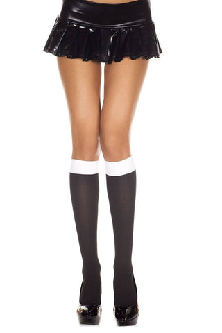 Black + White Contrast Top Opaque Ladies Knee High Socks