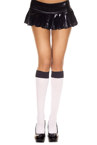 White + Black Contrast Top Opaque Ladies Knee High Socks