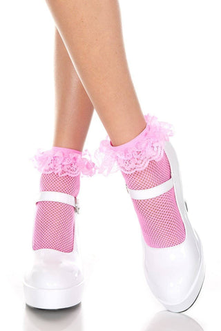 Image of Black White Pink Fishnet Ankle Socks + Lace Ruffle Trim