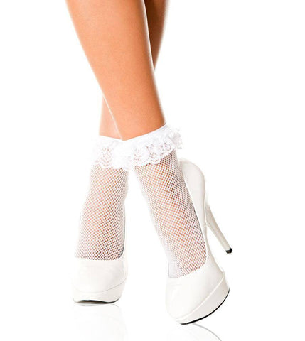 Image of Fishnet Ankle Socks + Lace Ruffle Trim - White Black Pink