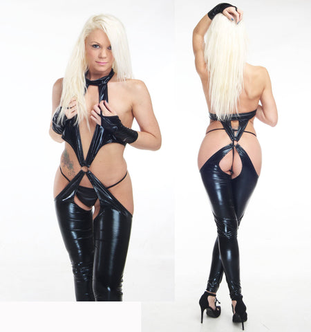 Womens Catsuit PVC Wet Look