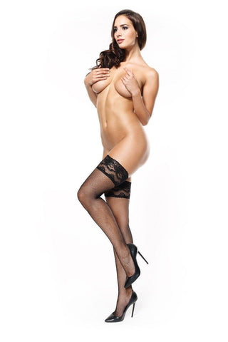 Image of Black 15 Denier Lace Top Fine Fishnet Silicone Hold-Ups