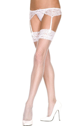 4 Strap Suspender Belt with Fishnet Lace Top Nylon Stockings Set Red Black White