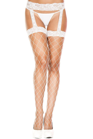 Image of Red White or Black Lycra Fence Net Stockings with Lace Garter Belt S - XL