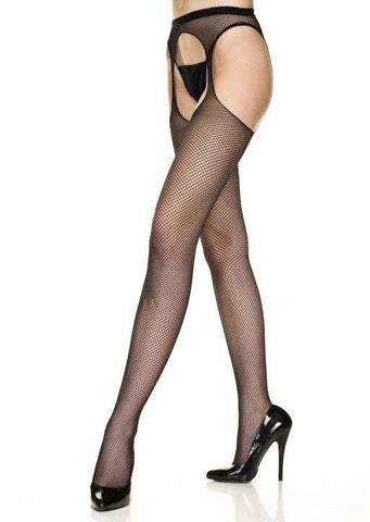 White Red or Black Fishnet Suspender Tights