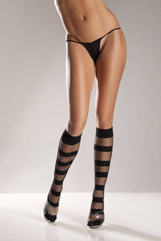 Black or White Fishnet + Opaque Stripe Knee High Socks