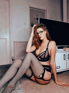 Fenne Black Designer Lace Top Fishnet Stockings