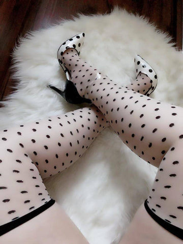 Kreine Beige Sheer Plain Top Stockings with Black Polka Dots