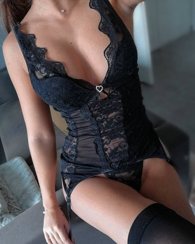 Image of Cairine Sognato Collection Sexy Black Corset with Briefs