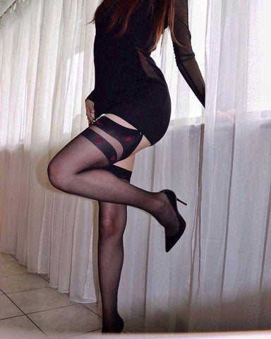 Image of Royama Sheer Black Designer Patterned Top Stockings
