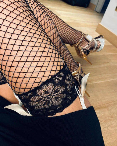 Mabella Atlantin Collection Lace Top Fishnet Stockings