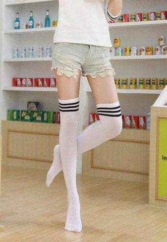 White or Black + 3 Stripe Over The Knee Opaque Schoolgirl Style Socks