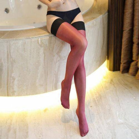 Image of Coffee/Dark Tan, Purple Red Nude Blue or White Black Top Shiny High Gloss Sexy Ladies Stockings