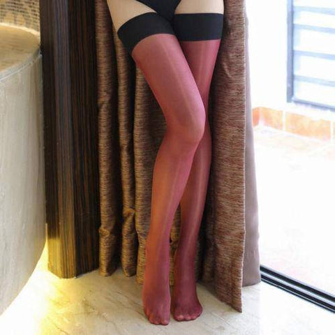 Image of Black Top Nude Purple Tan Red Blue or White Shimmery Glossy Stockings