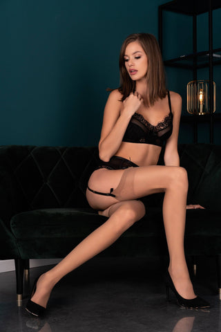 Image of Vermina Tan Nude Plain Top Stockings