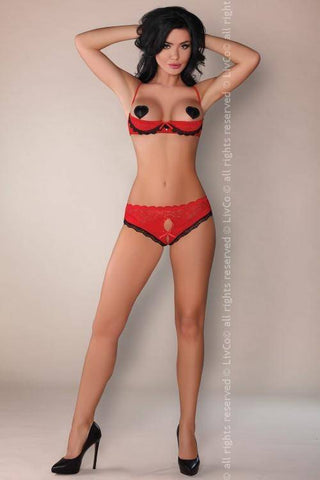 Karneo Red Jaspis Collection: Open Bra and Briefs