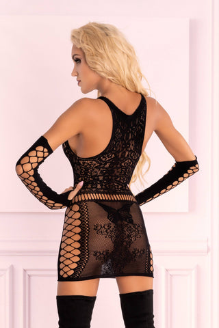 Image of Marlamina Sexy Black Dress with Matching Gloves