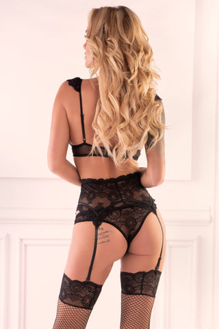 Image of Irissan Black Lingerie Set with Stockings