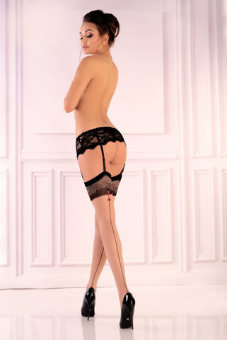 Image of Miradia Sheer Beige Designer Patterned Top Black Seamed Stockings