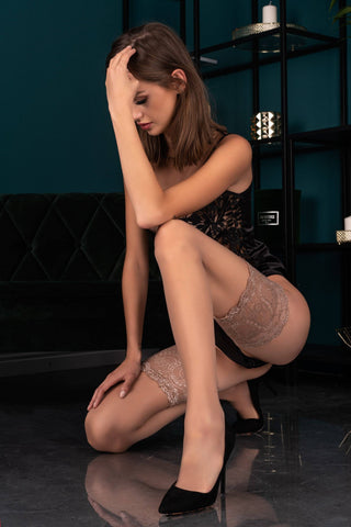 Image of Mirata Sand Wide Lace Top Hold-Ups