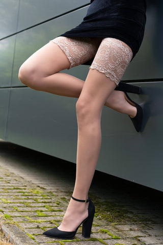 Mirata Sand Wide Lace Top Hold-Ups