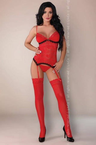 Image of Claudia Red Jaspis Collection: Corset, Briefs and Stockings