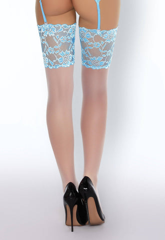 Niram Air Collection Blue Wide Lace Top Stockings
