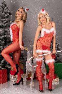 Magali Christmas Sexy Red Bodystocking