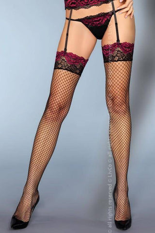 Image of Perry Magical Collection Lace Top Fishnet Stockings Black with Purple