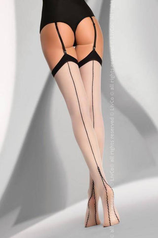 Rusikata Beige Plain Black Top Seamed Stockings