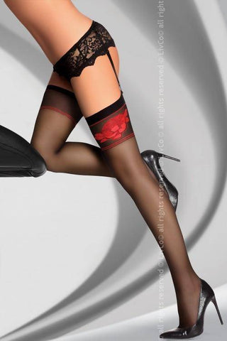 Amarachia Black Sheer Designer Black & Red Top Stockings