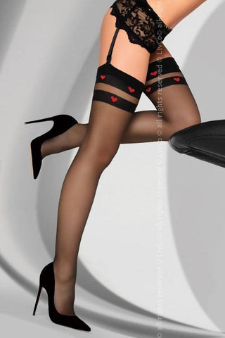 Royama Sheer Black Designer Patterned Top Stockings
