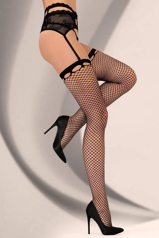 Image of Fenne Black Designer Lace Top Fishnet Stockings
