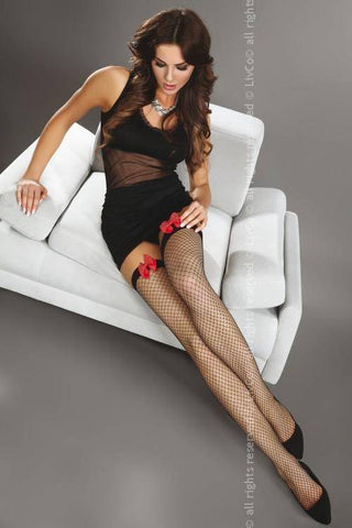 Magico Fishnet Hold-Ups with Red Satin Bow