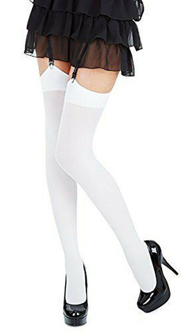 White Classic Microfibre Opaque Colored Stockings