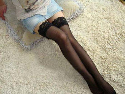 Sheer Lace Hold-Ups in Black, White or Red