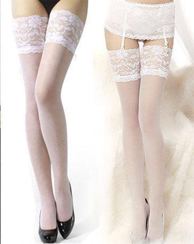 Image of Lace Hold-Ups Black, White or Red