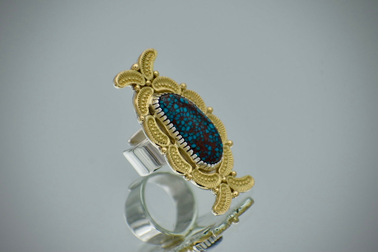 Egyptian Turquoise and 18K Yellow Gold Overlay Ring