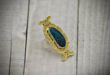 Load image into Gallery viewer, Egyptian Turquoise and 18K Yellow Gold Overlay Ring