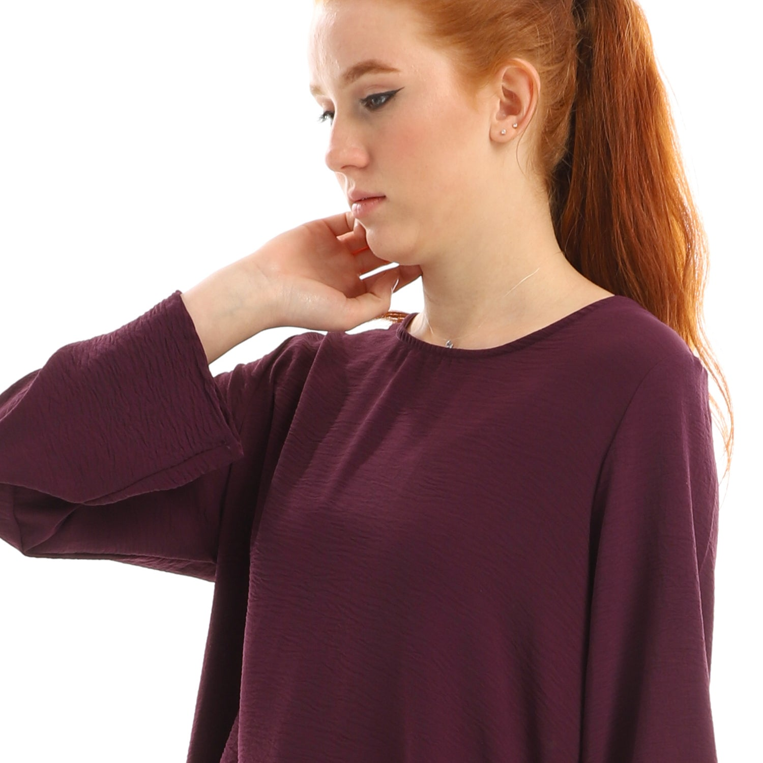 Plain High Low Round Collar Blouse