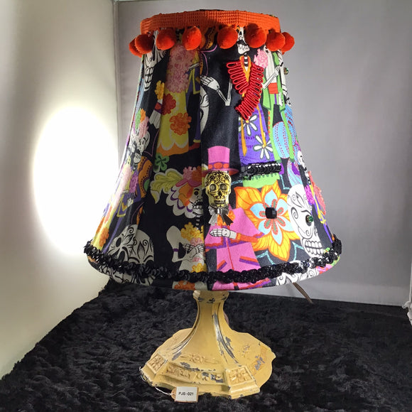 Day of the Dead Lampshade – Orange Trim