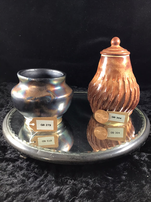Small Brown Swirl Jar with Lid