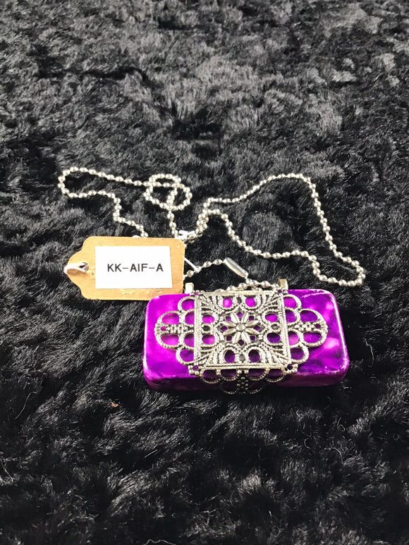 Purple Alcohol Ink Domino Necklace with Silver Filigree