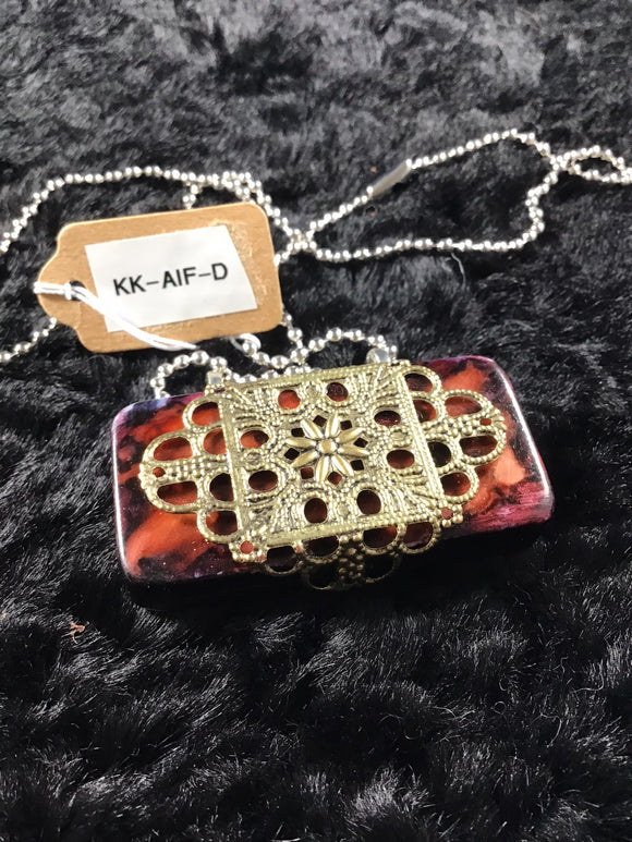 Multi-Colored Rust Alcohol Ink Domino Necklace with Gold Filigree