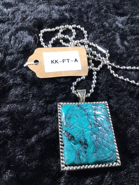 Rectangular Faux Turquoise Necklace Trimmed in Silver