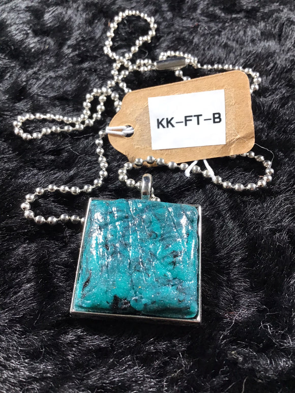 Square Faux Turquoise Necklace Trimmed in Silver