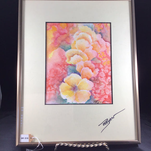 Floral Yellow and Pink Pastel Watercolor