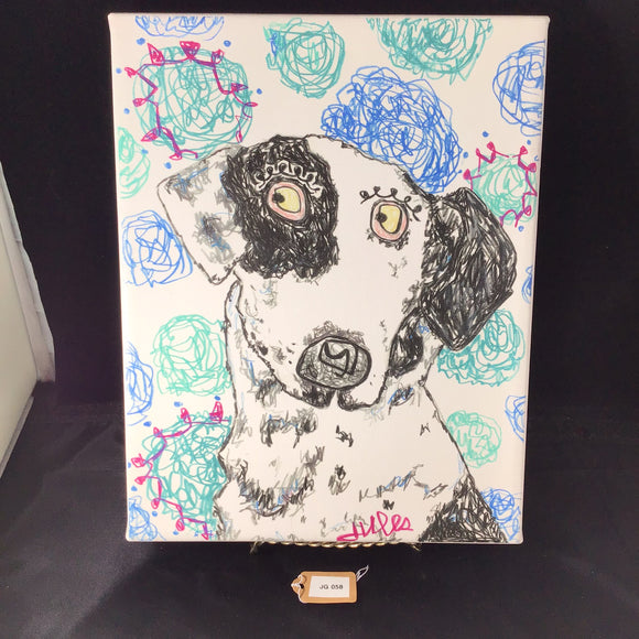 Lovable Black and White Rescue Dog Acrylic Painting